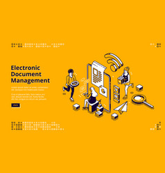 electronic document management banner vector image