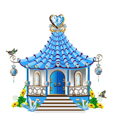 fairytale house with blue crystals vector image