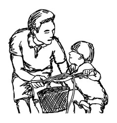 father teaching son to ride a bike vector image