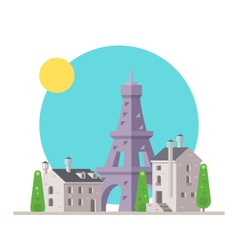 Flat design of Eiffel tower France with village vector