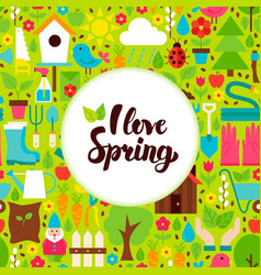 Flat i love spring greeting vector