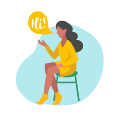 flat of sitting girl with vector image