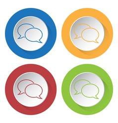 four round color icons outline speech bubbles vector image