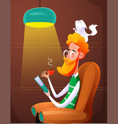 Fun redhead man read book sitting in chair vector