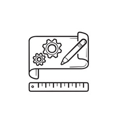 gears on paper prototyping hand drawn outline vector image