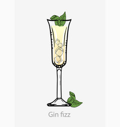 Gin fizz cocktail yellow cocktail with ice cubes vector