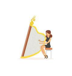 Girl harpist performing musical composition vector