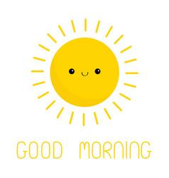 Good morning sun shining icon cute kawaii face vector