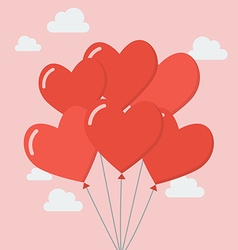 Group heart balloons vector