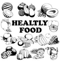 Hand drawn set healthy food vector
