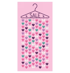 Hanger with hearts Sale discount banner vector