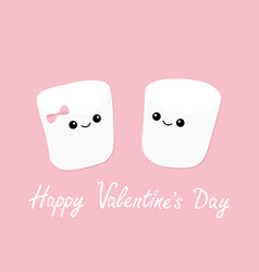 Happy valentines day marshmallows with eyes and vector