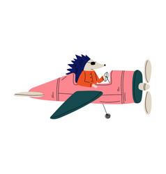 hedgehog pilot flying on retro plane in sky vector image