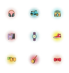 Hipster icons set pop-art style vector image