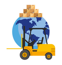 lift truck and globe vector image