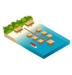 luxury overwater thatched roof bungalow vector image