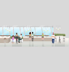 mix race people sitting cafe table spending time vector image