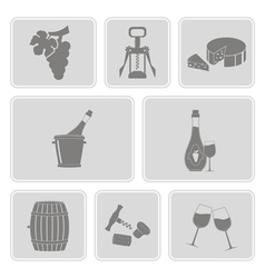 Monochrome set with wine icons vector