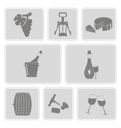 monochrome set with wine icons vector image