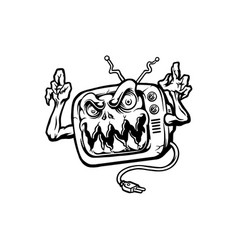 monster television terror mascot silhouette vector image