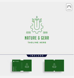 nature gear logo farm industry line icon symbol vector image