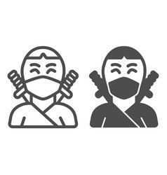 Ninja avatar of man in mask with two sword line vector
