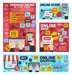 online shopping with mobile phone laptop computer vector image