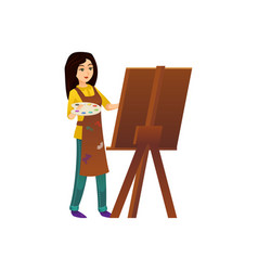 Painter woman working at easel vector