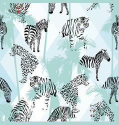 patchwork tropical black color animals seamless vector image