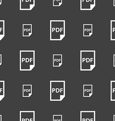 PDF Icon sign Seamless pattern on a gray vector