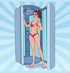 pop art beautiful woman in solarium tanning vector image