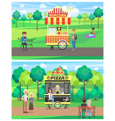 Popcorn and pizza shops in green park color banner vector