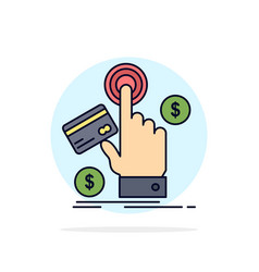 Ppc click pay payment web flat color icon vector