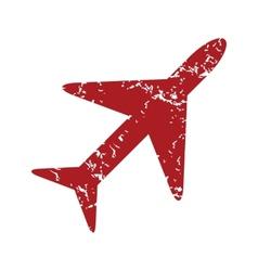 Red grunge plane logo vector image