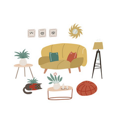 retro furniture and interior composition in flat vector image