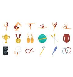 Rhythmic gymnastics icons set flat style vector