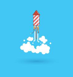 Rocket fireworks icon in modern flat design thin vector