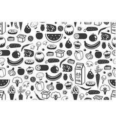 seamless pattern with different food in black vector image