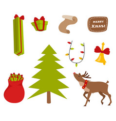 Set nice christmas icons on white background vector