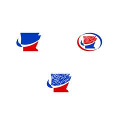 set of arkansas map logo vector image