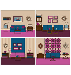 Set retro rooms interior in flat design linear vector