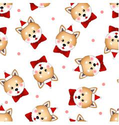 shiba inu santa claus dog with red ribbon on vector image