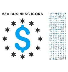 Sparkle Dollar Icon with Flat Set vector