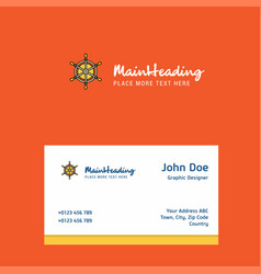 steering logo design with business card template vector image