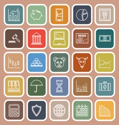 Stock market line flat icons on brown background vector image