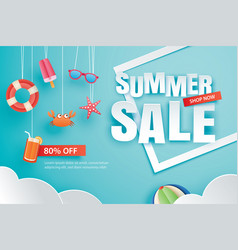 Summer sale with decoration origami on blue sky vector