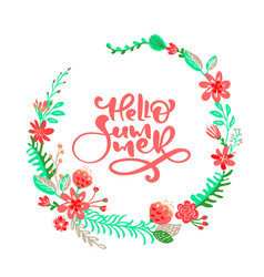 text hello summer in floral leaves frame wreath vector image