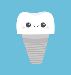 Tooth dental implant prosthesis icon cute funny vector