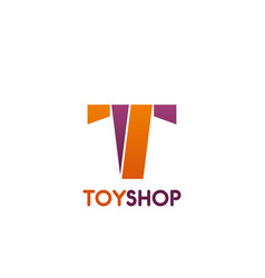 toy shop letter t icon vector image