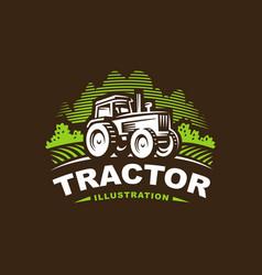 Tractor logo emblem design vector